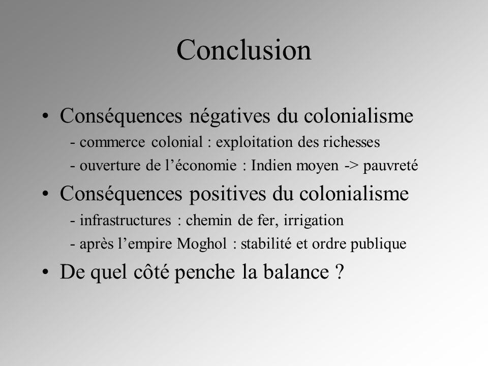 Conclusion Conséquences négatives du colonialisme