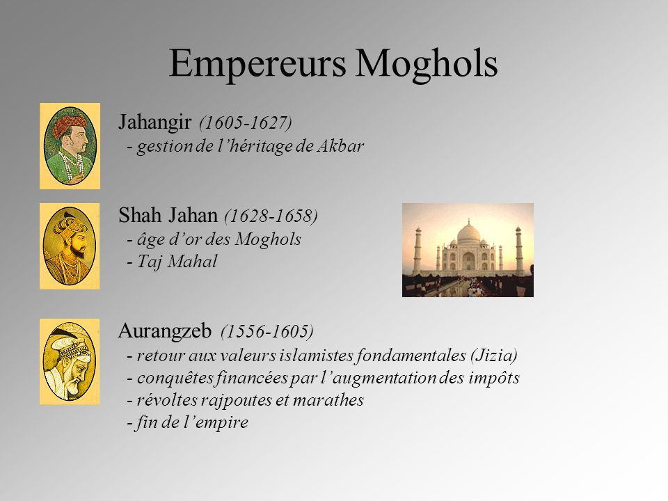 Empereurs Moghols Jahangir (1605-1627) Shah Jahan (1628-1658)
