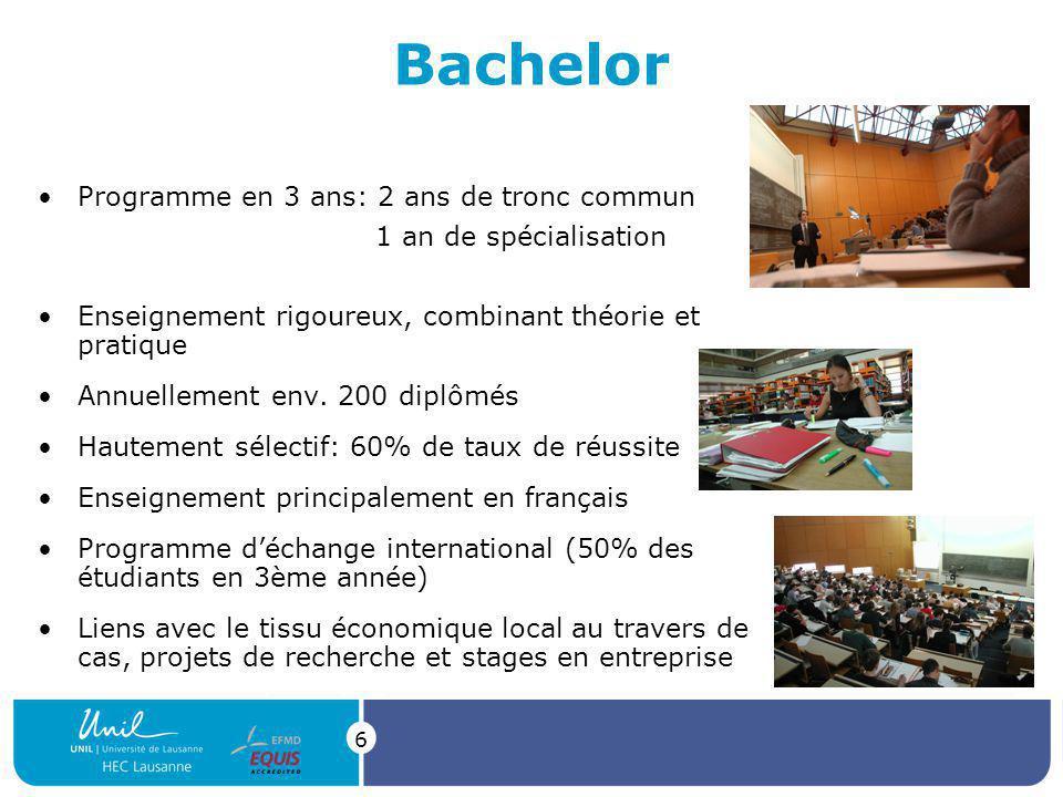 Bachelor Programme en 3 ans: 2 ans de tronc commun