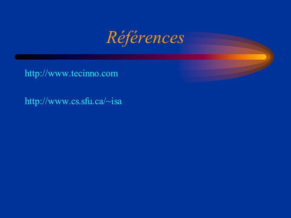 Références http://www.tecinno.com http://www.cs.sfu.ca/~isa