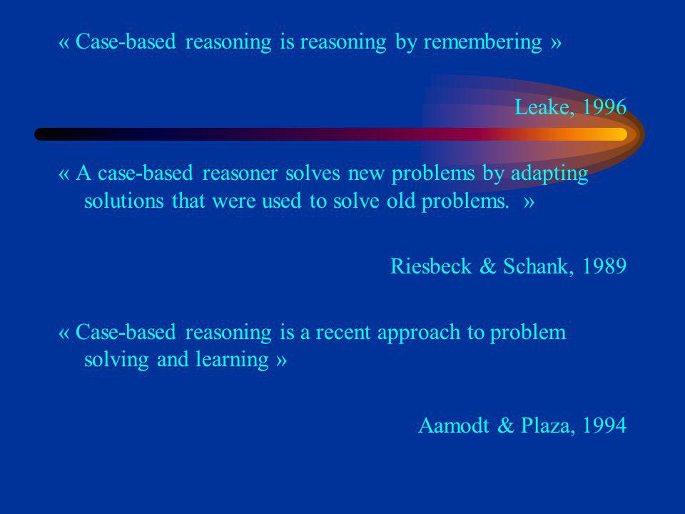 « Case-based reasoning is reasoning by remembering »
