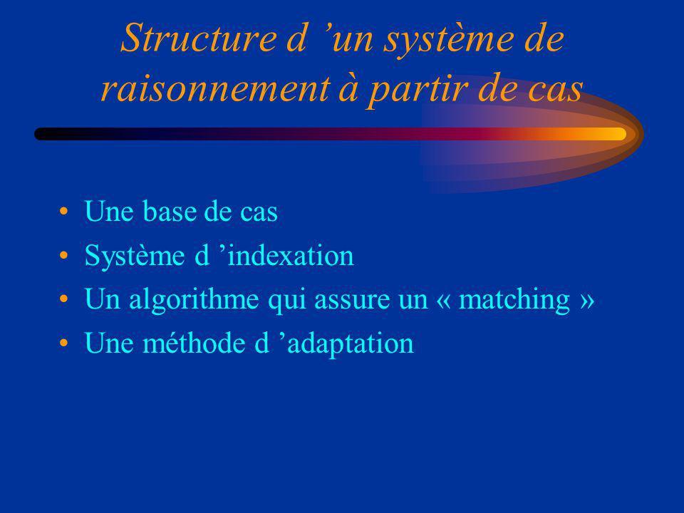 Structure d 'un système de raisonnement à partir de cas