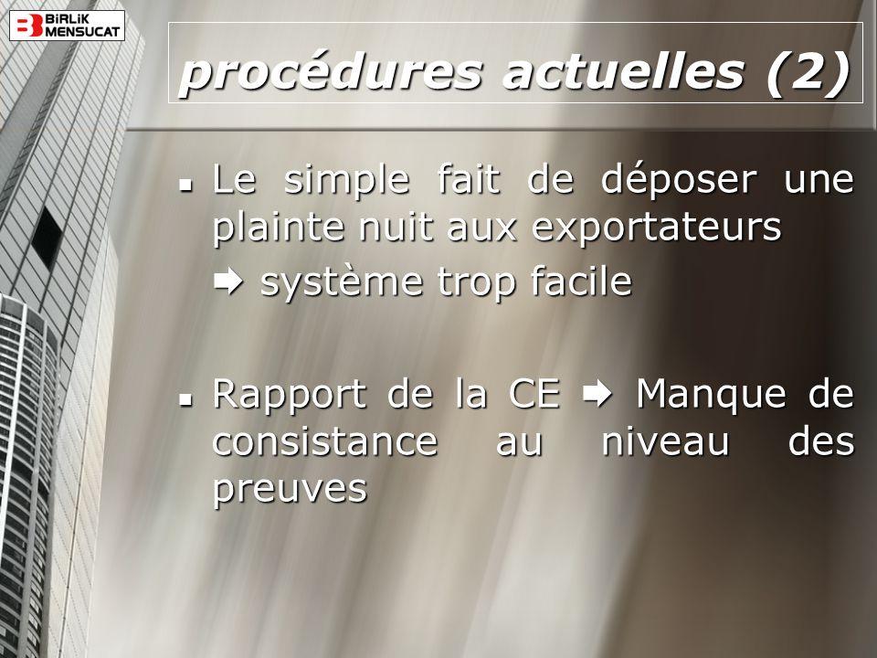 procédures actuelles (2)