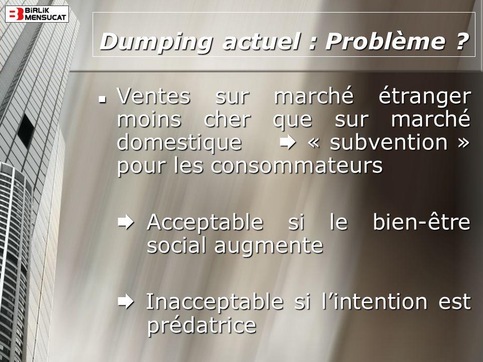 Dumping actuel : Problème
