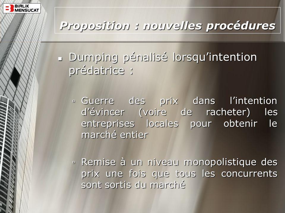 Proposition : nouvelles procédures