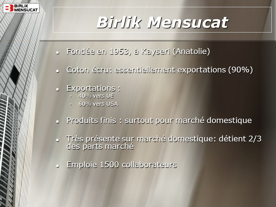 Birlik Mensucat Fondée en 1953, à Kayseri (Anatolie)