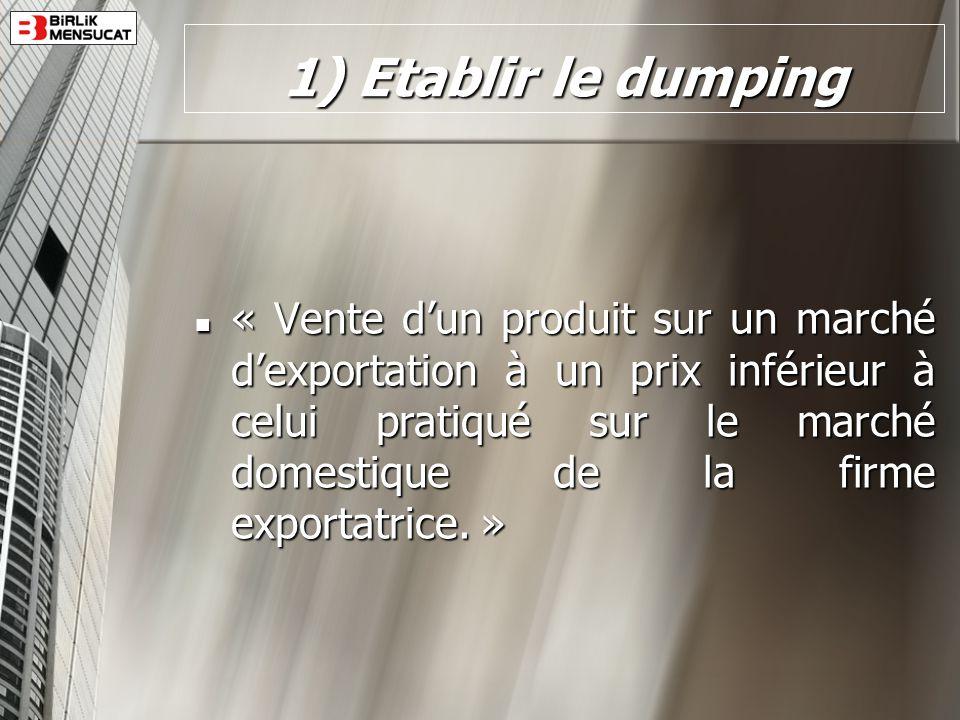 1) Etablir le dumping