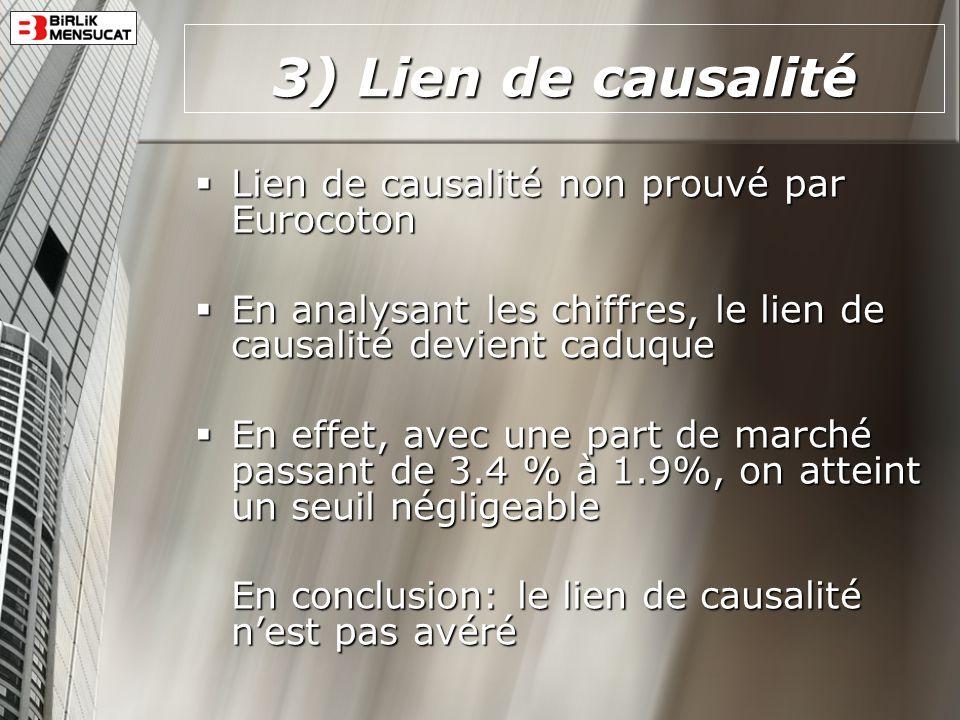 3) Lien de causalité Lien de causalité non prouvé par Eurocoton