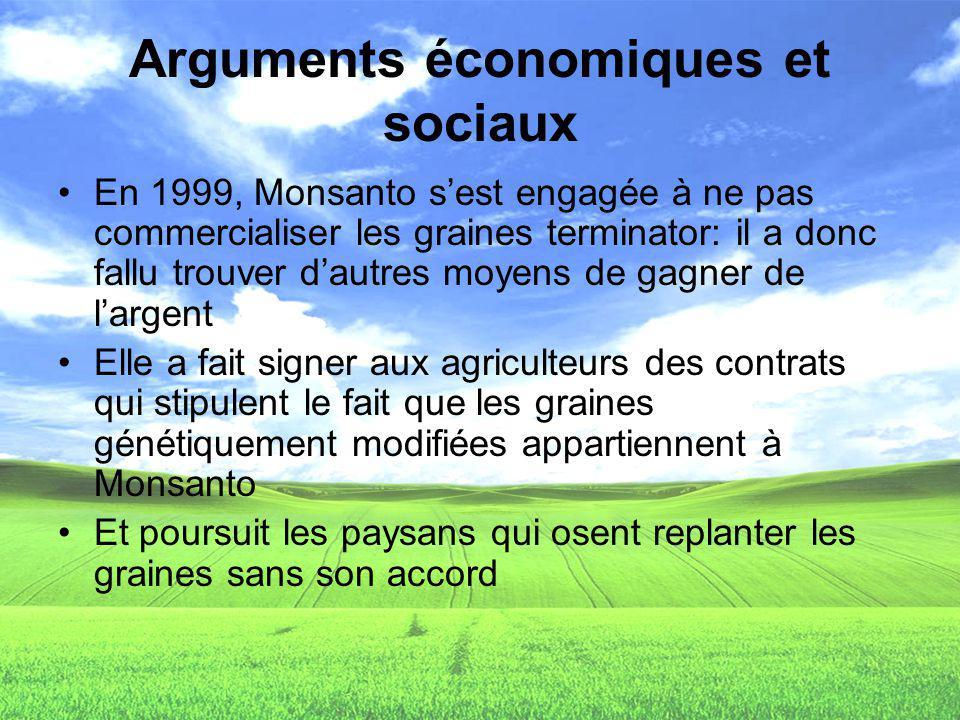 Arguments économiques et sociaux