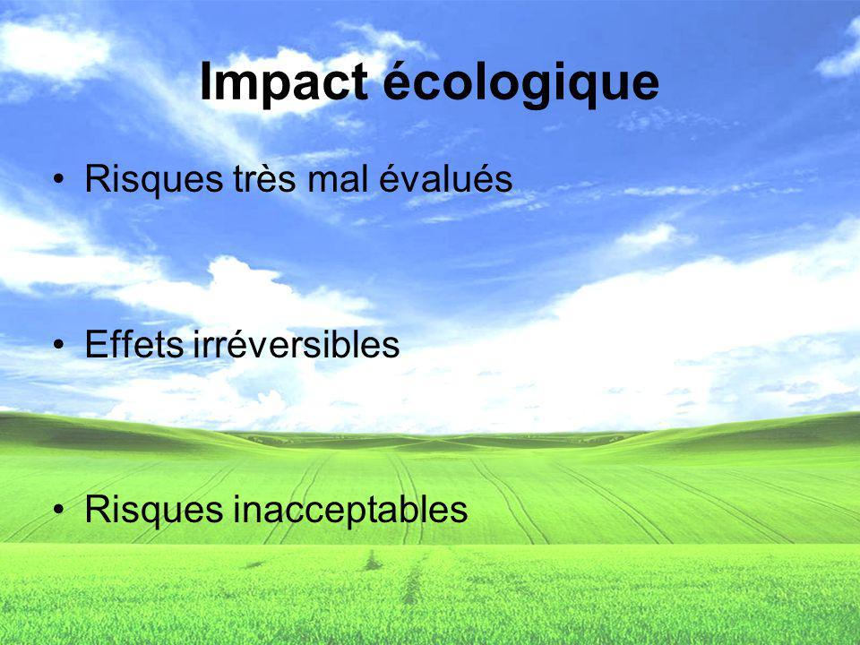 Impact écologique Risques très mal évalués Effets irréversibles