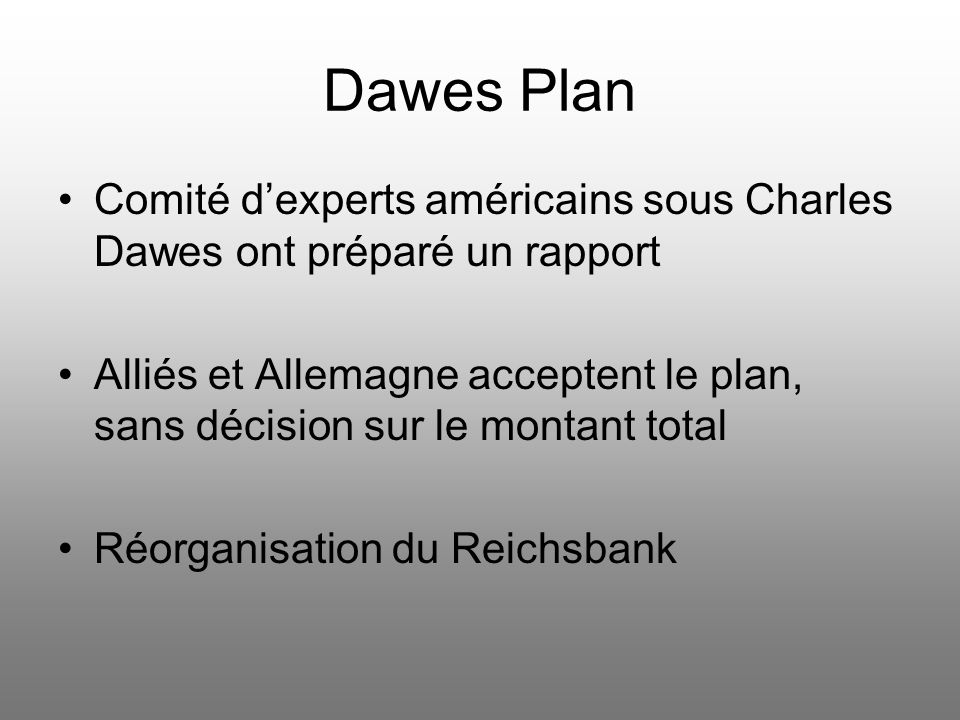 Dawes Plan Comité d'experts américains sous Charles Dawes ont préparé un rapport.