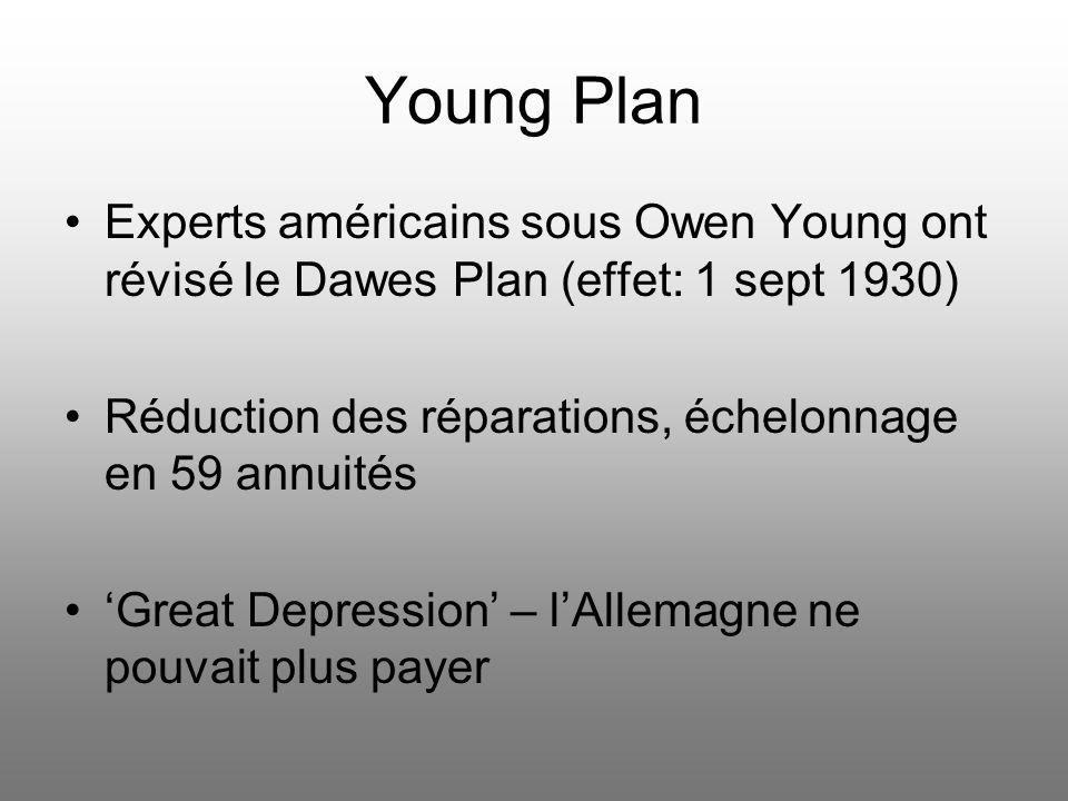 Young Plan Experts américains sous Owen Young ont révisé le Dawes Plan (effet: 1 sept 1930) Réduction des réparations, échelonnage en 59 annuités.