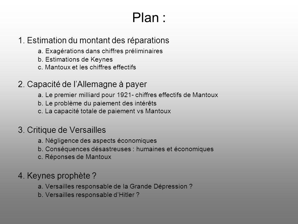 Plan : 1. Estimation du montant des réparations