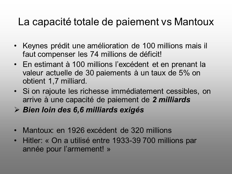 La capacité totale de paiement vs Mantoux