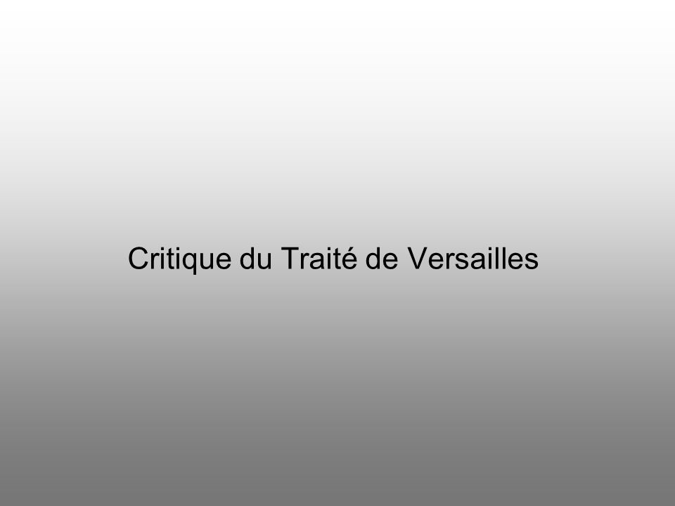 Critique du Traité de Versailles