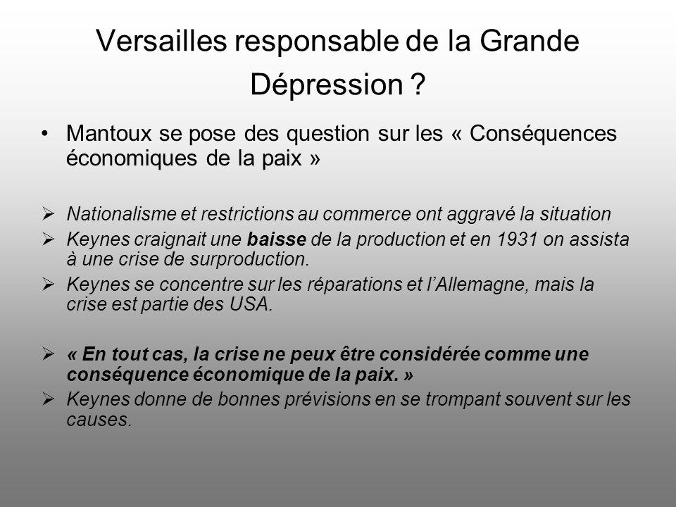 Versailles responsable de la Grande Dépression