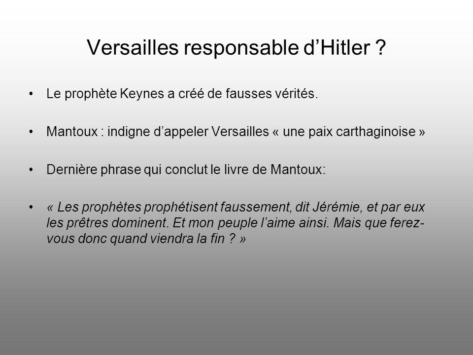 Versailles responsable d'Hitler