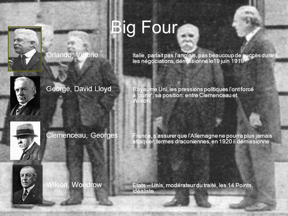 Big Four Orlando, Vittorio Italie, parlait pas l'anglais, pas beaucoup de succès durant les négociations, démissionné le19 juin 1919.