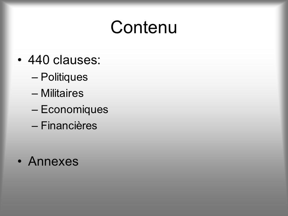Contenu 440 clauses: Annexes Politiques Militaires Economiques