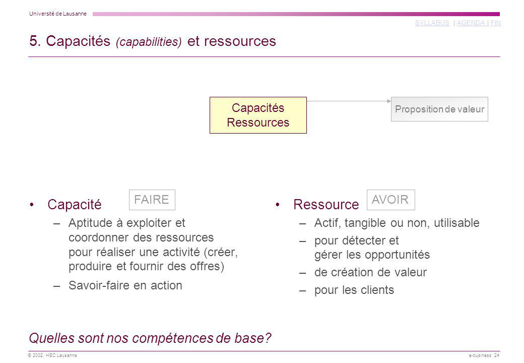 5. Capacités (capabilities) et ressources