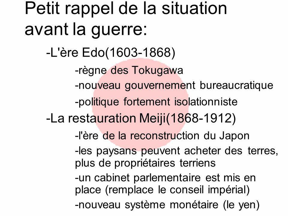 Petit rappel de la situation avant la guerre: