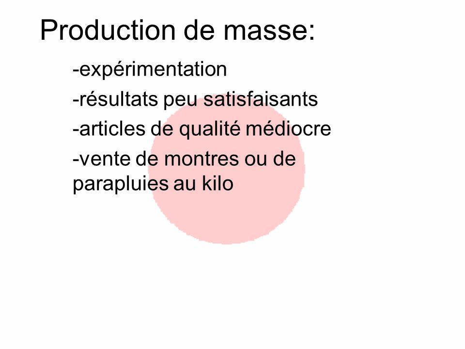 Production de masse: -expérimentation -résultats peu satisfaisants