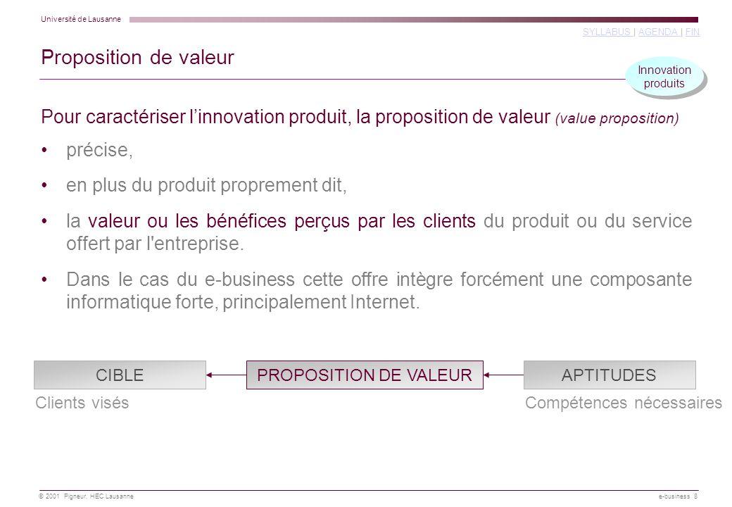 Proposition de valeur Innovation. produits. Pour caractériser l'innovation produit, la proposition de valeur (value proposition)