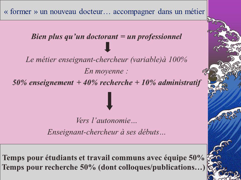 « former » un nouveau docteur… accompagner dans un métier