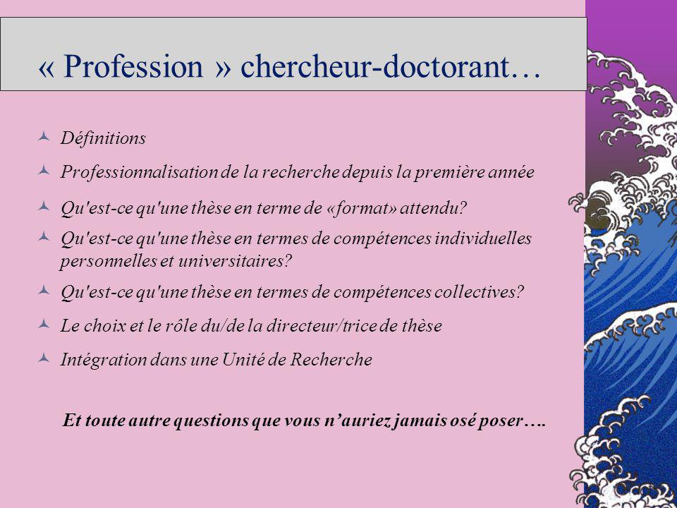« Profession » chercheur-doctorant…