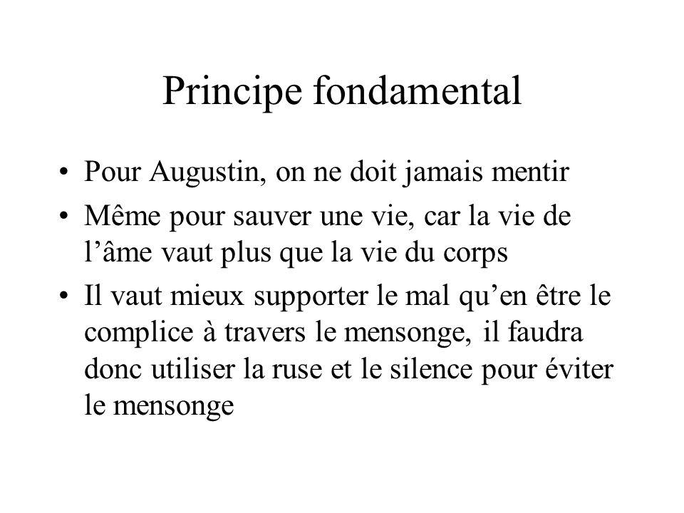 Principe fondamental Pour Augustin, on ne doit jamais mentir