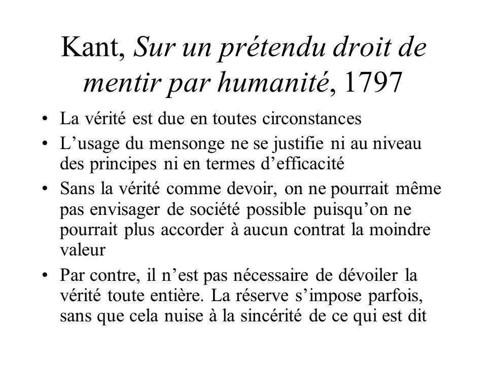Kant, Sur un prétendu droit de mentir par humanité, 1797
