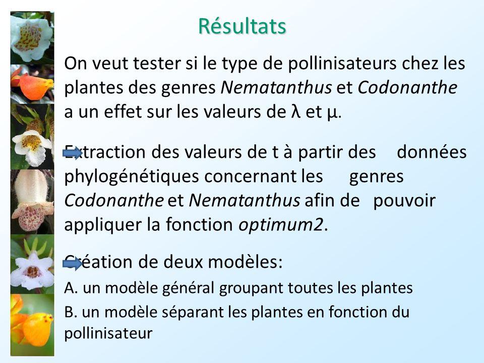 Résultats On veut tester si le type de pollinisateurs chez les plantes des genres Nematanthus et Codonanthe a un effet sur les valeurs de λ et µ.