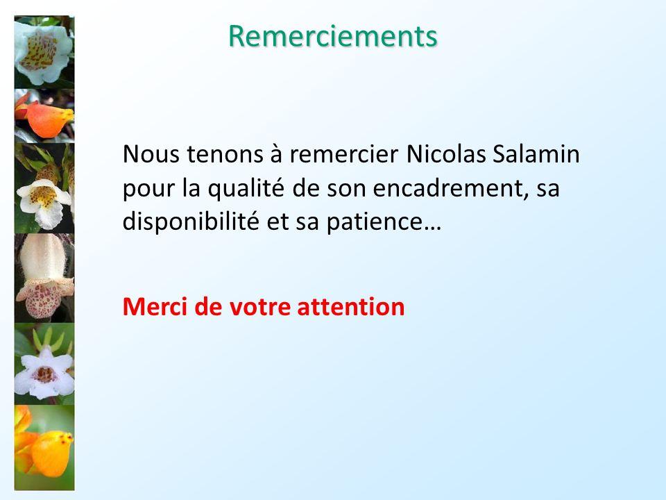 Remerciements Nous tenons à remercier Nicolas Salamin pour la qualité de son encadrement, sa disponibilité et sa patience…