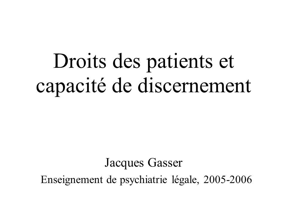 Droits des patients et capacité de discernement