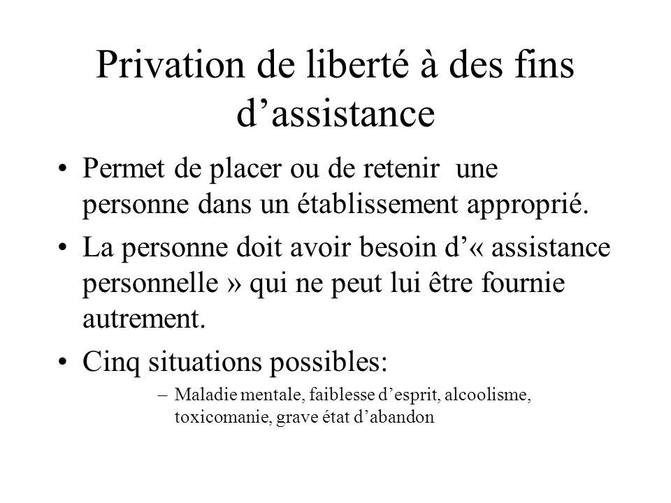 Privation de liberté à des fins d'assistance
