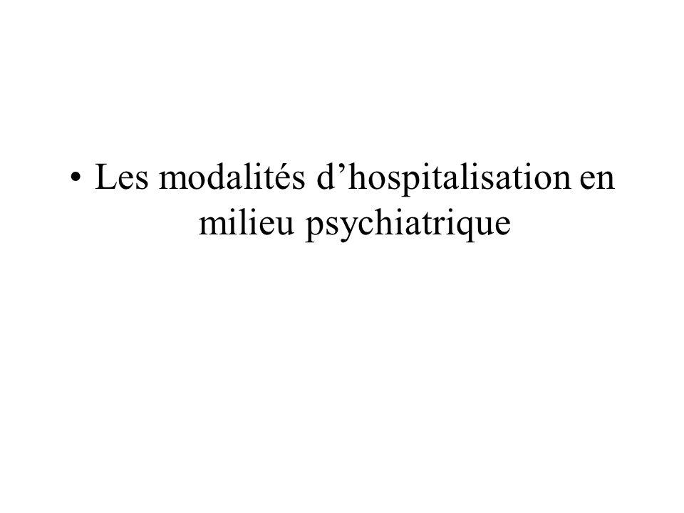 Les modalités d'hospitalisation en milieu psychiatrique