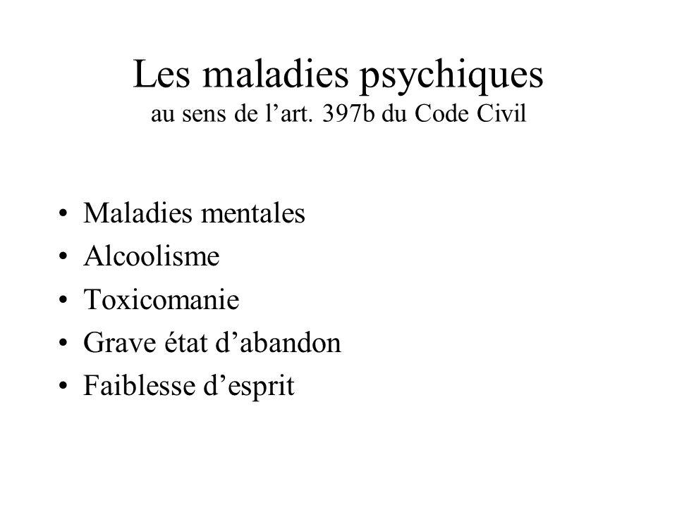 Les maladies psychiques au sens de l'art. 397b du Code Civil