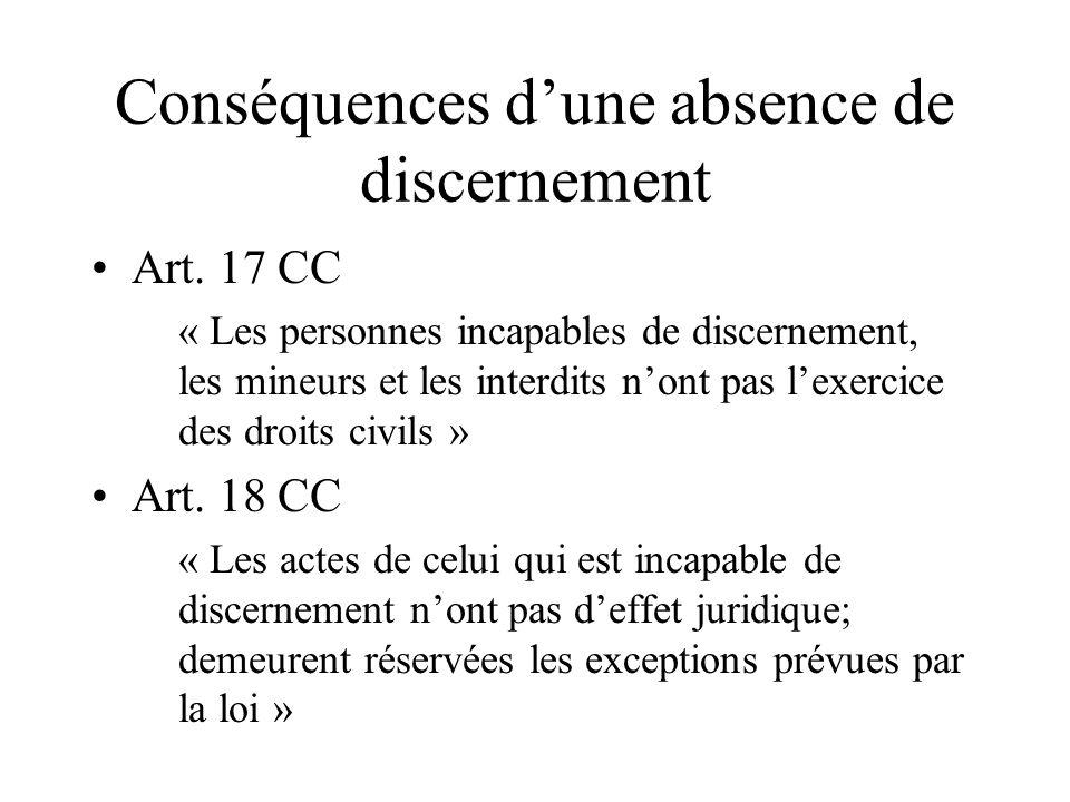 Conséquences d'une absence de discernement