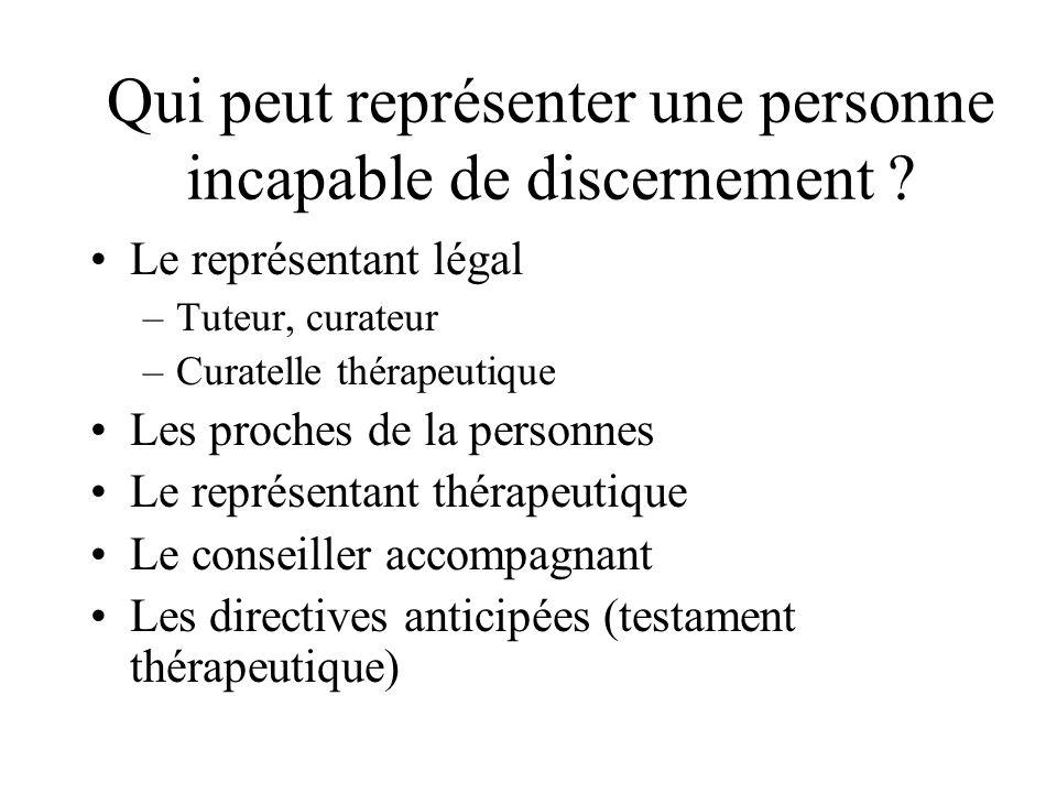Qui peut représenter une personne incapable de discernement