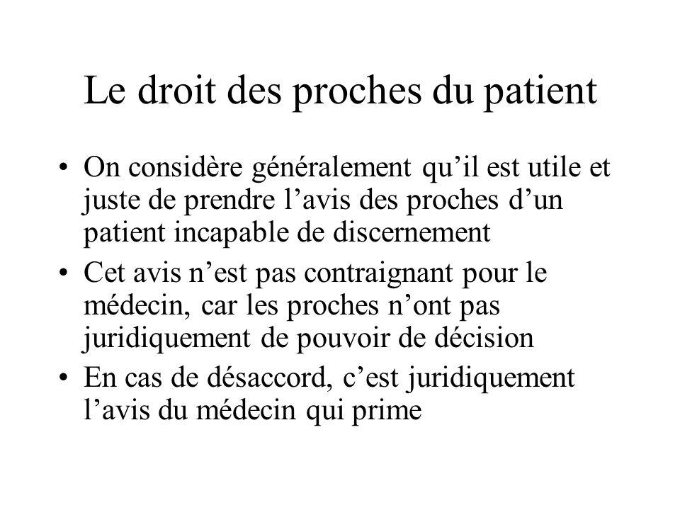 Le droit des proches du patient