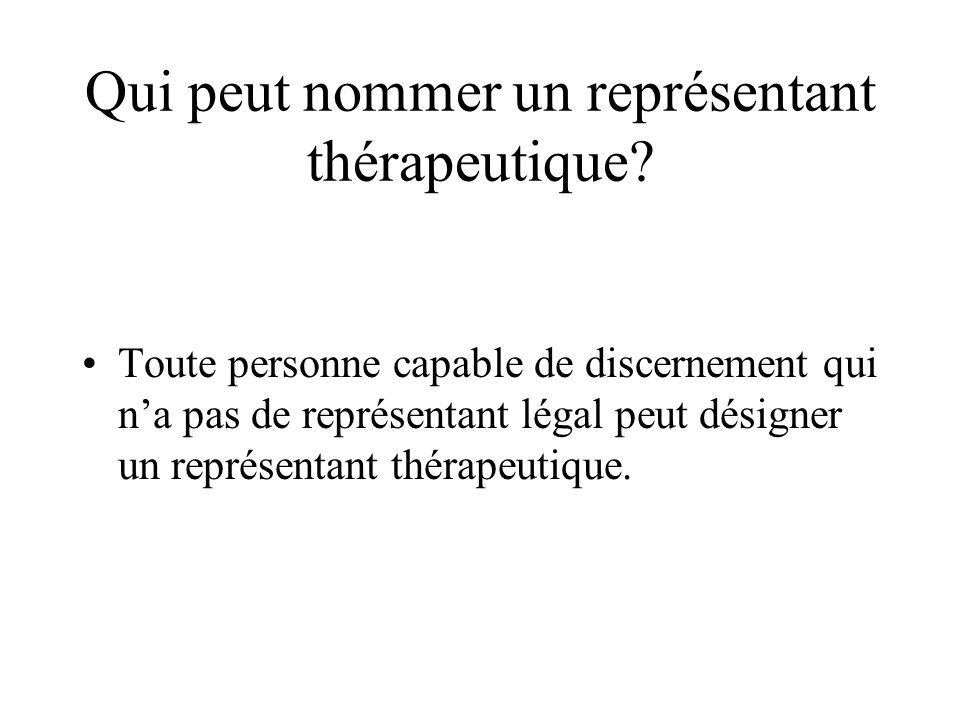 Qui peut nommer un représentant thérapeutique