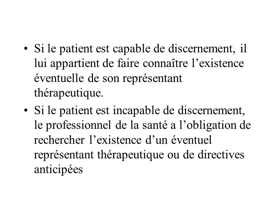Si le patient est capable de discernement, il lui appartient de faire connaître l'existence éventuelle de son représentant thérapeutique.