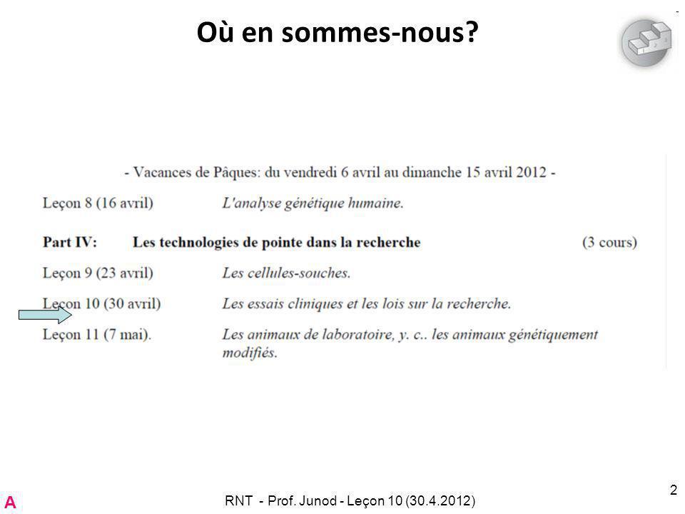RNT - Prof. Junod - Leçon 10 (30.4.2012)