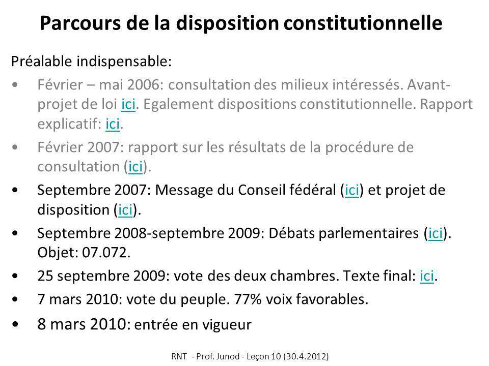 Parcours de la disposition constitutionnelle