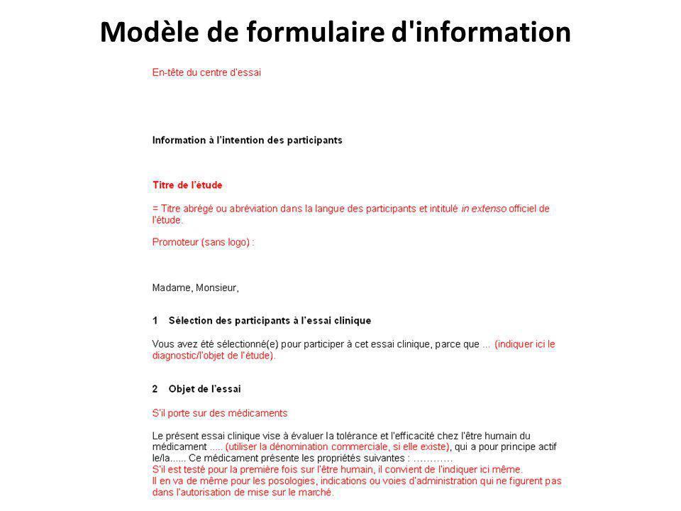 Modèle de formulaire d information