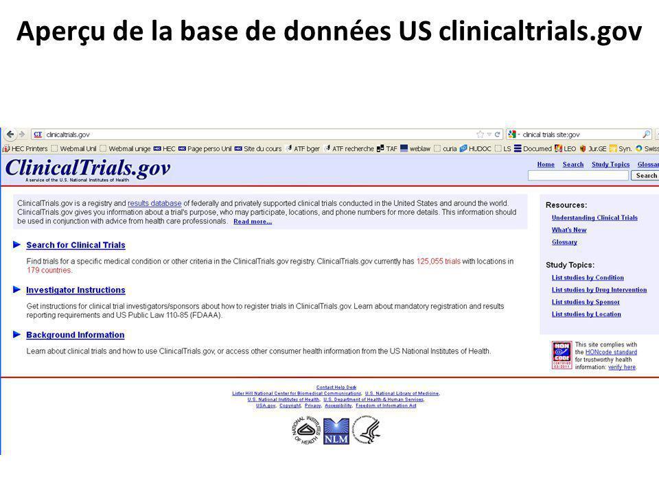 Aperçu de la base de données US clinicaltrials.gov
