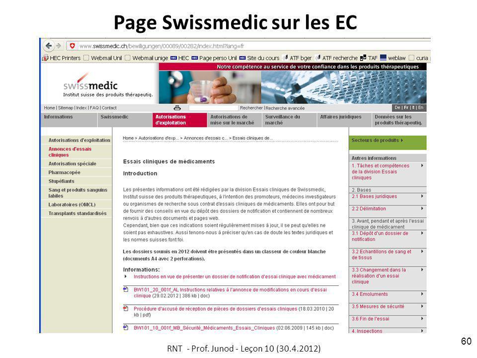 Page Swissmedic sur les EC
