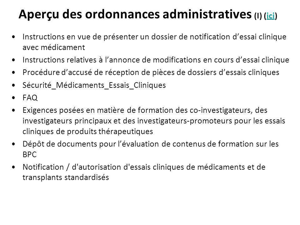 Aperçu des ordonnances administratives (I) (ici)