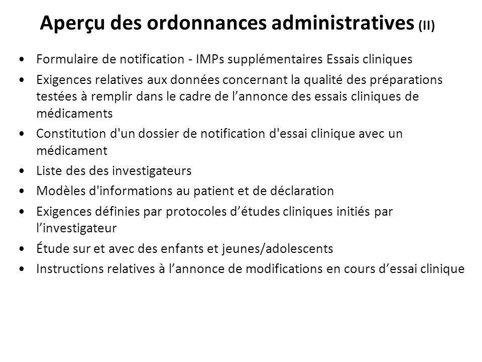 Aperçu des ordonnances administratives (II)