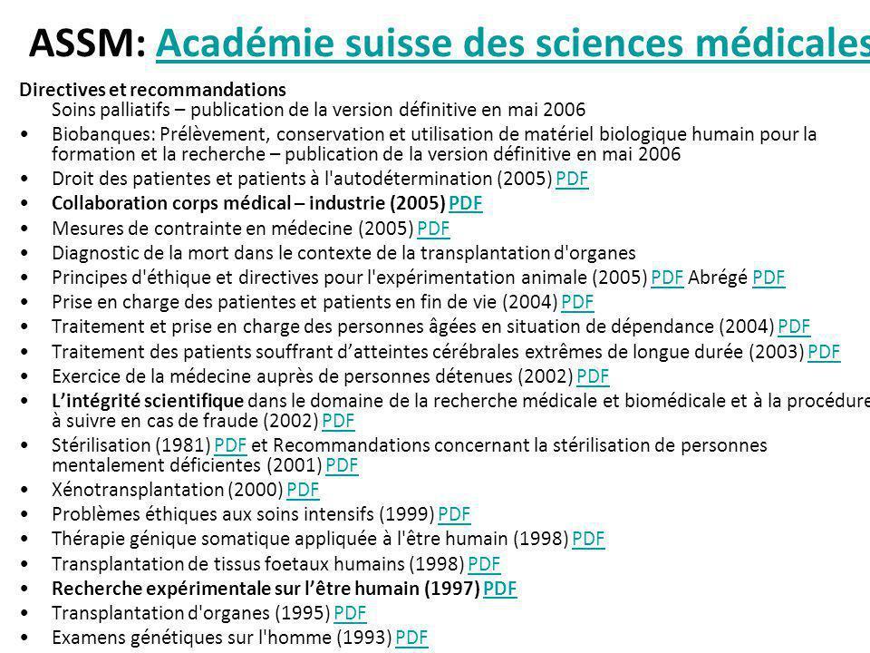 ASSM: Académie suisse des sciences médicales
